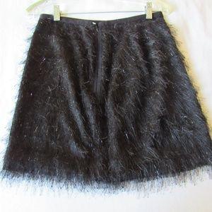 Cynthia Rowley Funky Skirt 4 Black Mini Feather